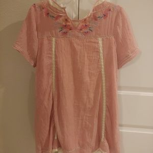 Umgee Floral Print Tunic Size Medium Lace